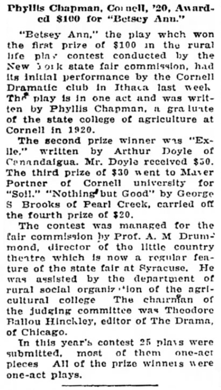 Article in The Oneonta Star (30 may 1922)