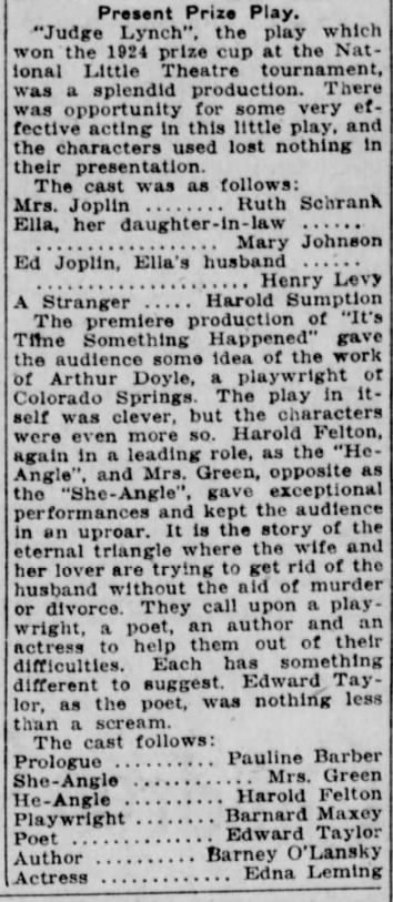 Review and cast in The Lincoln Star (6 february 1925)