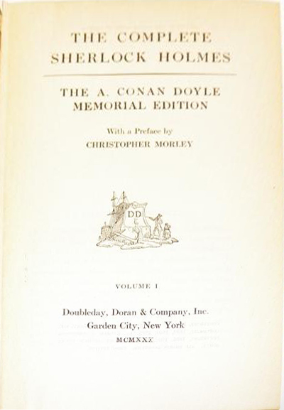 File:Doubleday-doran-1930-09-the-complete-sherlock-holmes-memorial-edition-vol1-titlepage.jpg