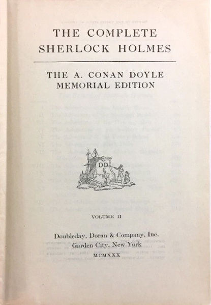 File:Doubleday-doran-1930-09-the-complete-sherlock-holmes-memorial-edition-vol2-titlepage.jpg